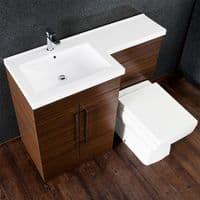 Jupiter Maze Walnut 1090mm L-Shape Vanity Unit Furniture Suite With Mid Edge Basin - CHI005-RH